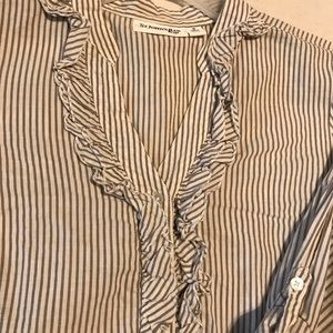 Blouse stripe tan and white